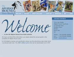 Web design for Afghan Hound Year Book